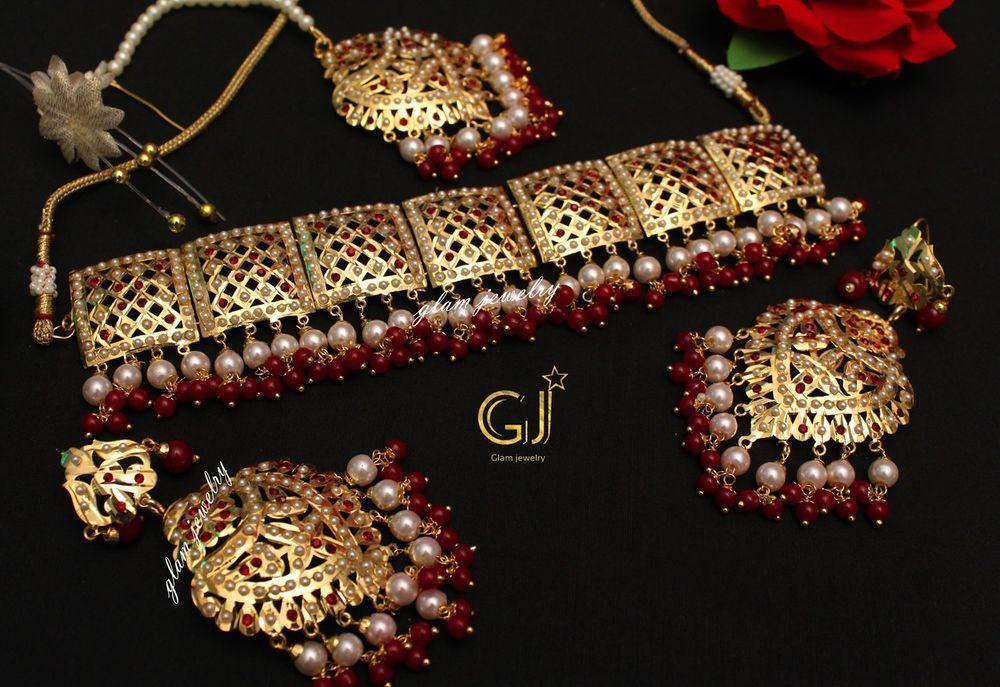 Wedding Pearl Indian jewelry Traditional Hyderabadi ruby,emerald Jadau choker set
