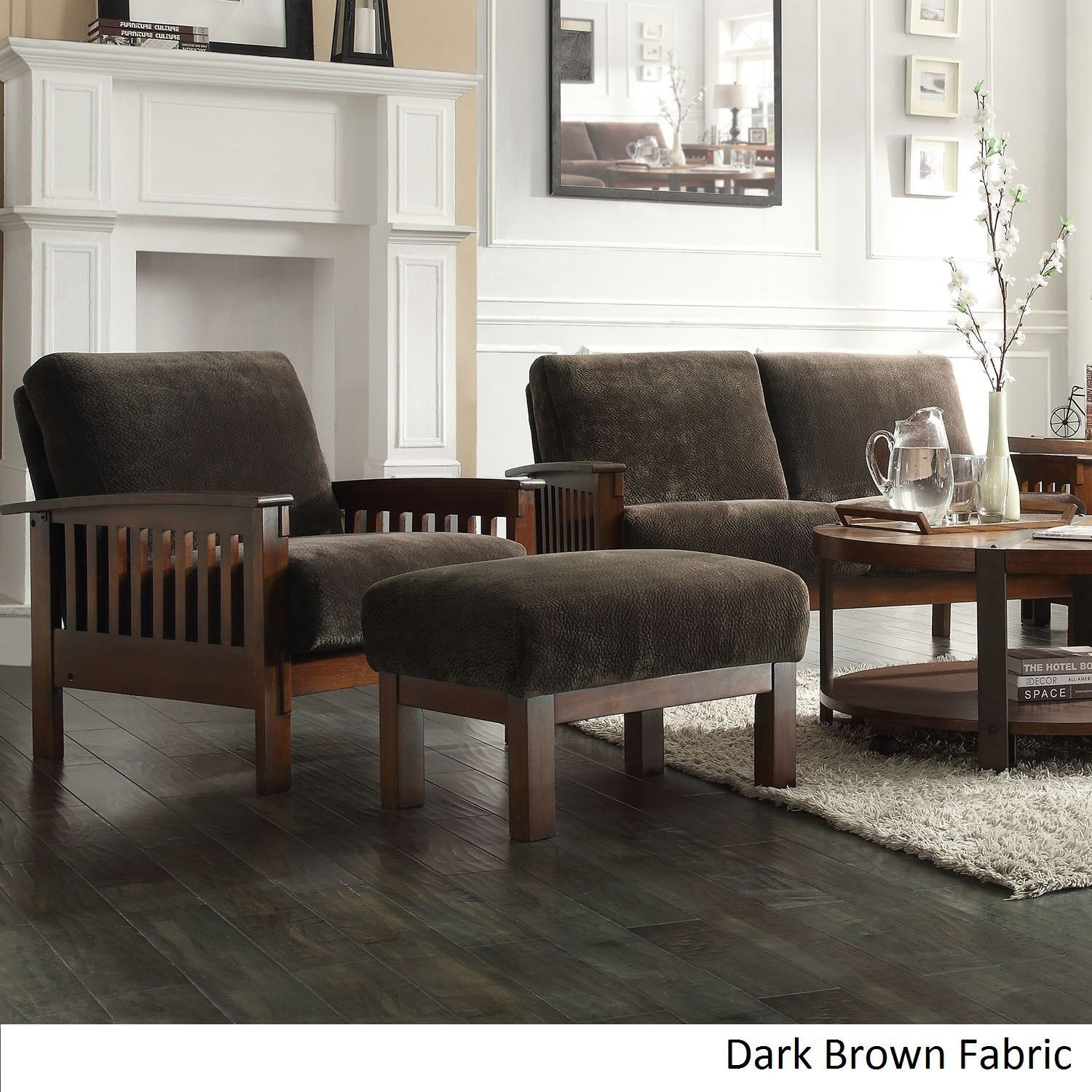 tribecca home hills mission style oak chair and ottoman dark brown fabric