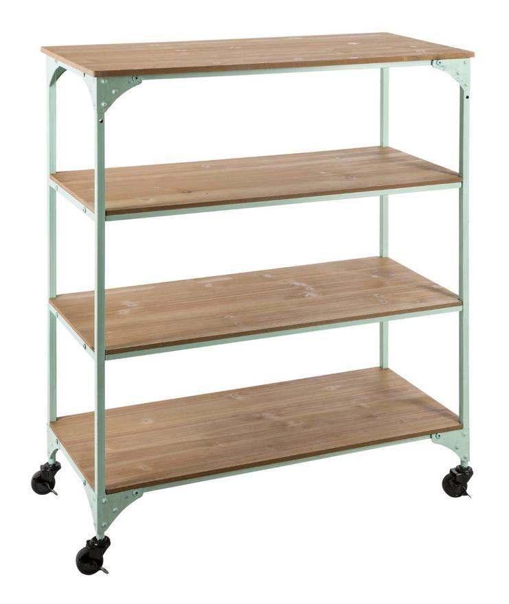 Atmosphera Etagere En Bois Et Metal Vert Sur Roues Avec 4 Niveaux Bohemian Dream 157164b Kitchen Cart Shelves Home Decor
