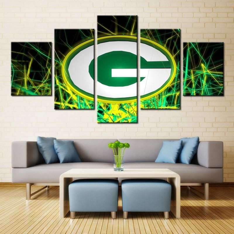 Green Bay Packers Sports Boys Room Painting On Canvas Best Funny