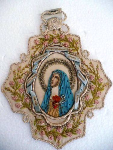 Embroidered immaculate heart scapular Virgen Maria