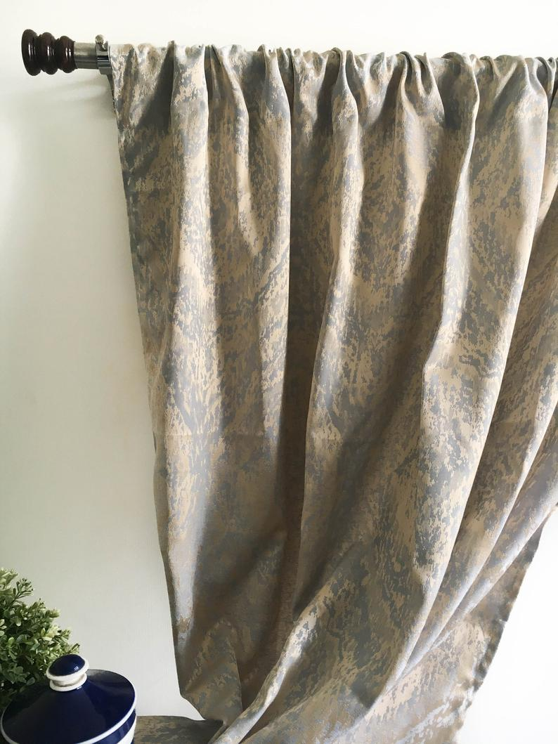 Vintage Gold Blackout Curtain Panel 84 96 108 120 130 Inch Gold