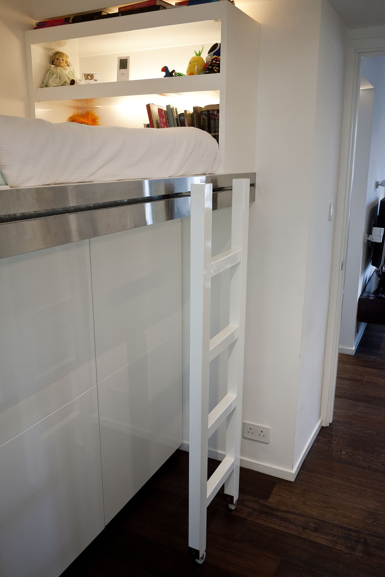 Small Box Room Cabin Bed For Grandma: Bookcase & Cabin Bed. Ladder Can Roll Across To Give