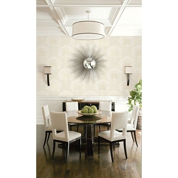 Seabrook Wallpaper CR34000 - Carl Robinson 11-Capri - Feather fan design wallcovering in a dining room photo