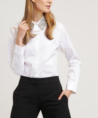 32f8abf1d DKNY Koszula damska biała ze zdobionym kołnierzykiem white | Białe ...
