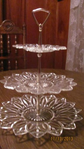 3 Tier Federal Plate Server For Cupcakes Sweets Carnival Glass Glass Profitable Crafts