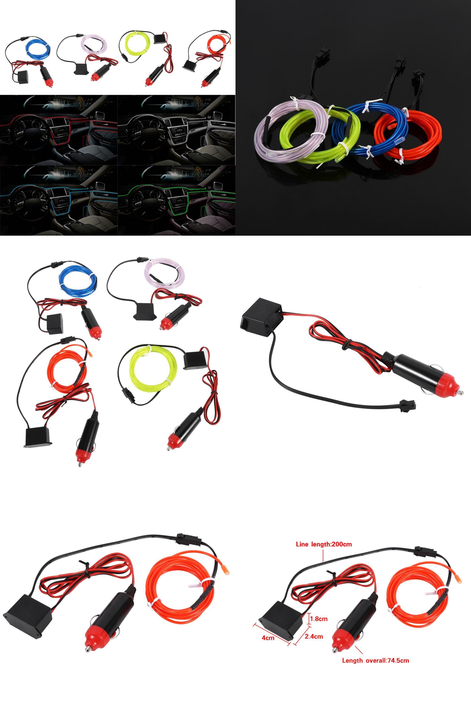 Visit to Buy] 2M 12V EL Wire Cold Light Lamp Car Atmosphere Decor ...