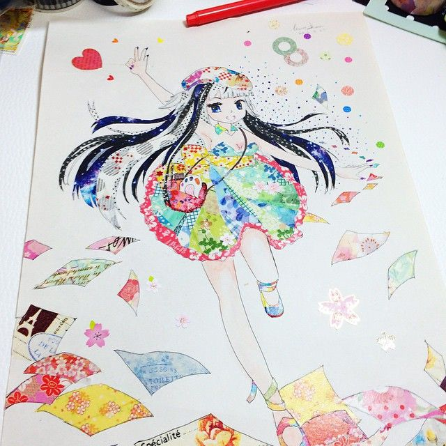 Washi Tape Manga Art By Leilei Tape Art Watercolor Art Diy