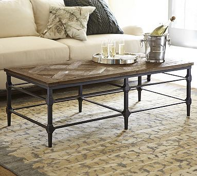 Parquet Reclaimed Wood Rectangular Coffee Table Iron
