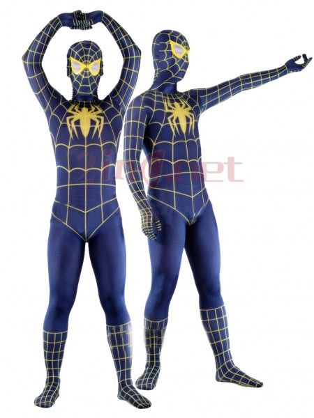 $130.57Lycra Spandex Deep Blue Spiderman Costume Outfit Zentai #with  #Yellow #Strips