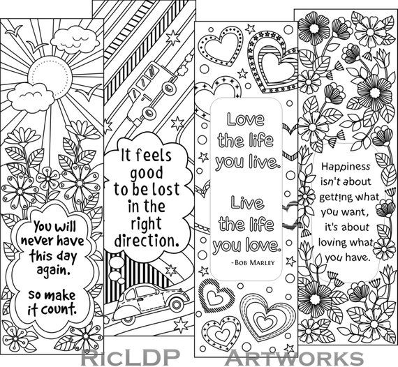 Set of 4 Coloring Bookmarks with Quotes, Bookmark Templates with Four Designs; Digital Download is part of Coloring bookmarks - Details One printable jpeg and one pdf copy  plus one complimentary page Bookmark dimension  2 0 x 6 5 in  each  High quality at 300 dpi resolution Print compatible to 8 5 x 11 inches paper sizes   Note  Instant digital download (No physical product will be sent)   For personal use only