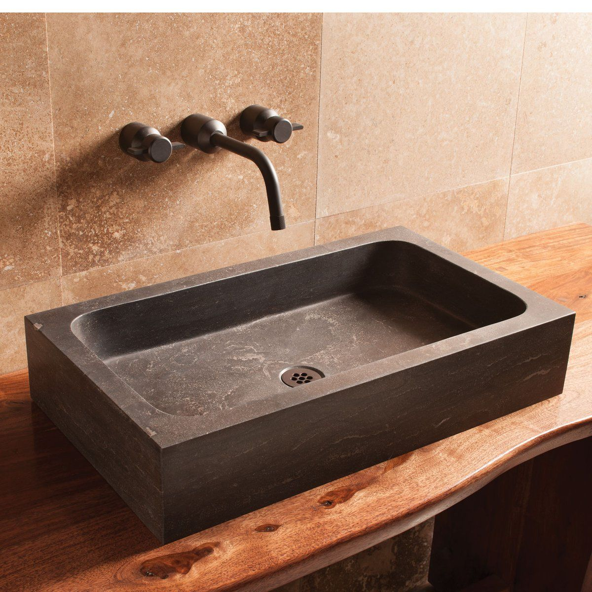 Photo of Milano Sink – Antique gray limestone – stone forest