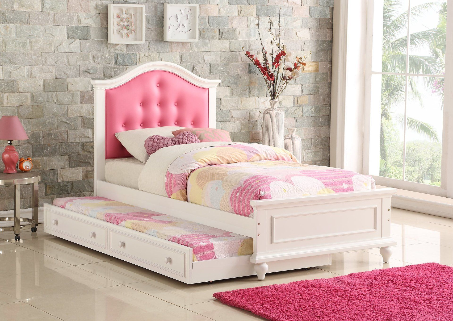 This Luxury Pink And White Trundle Bed Is Made For A Princess To