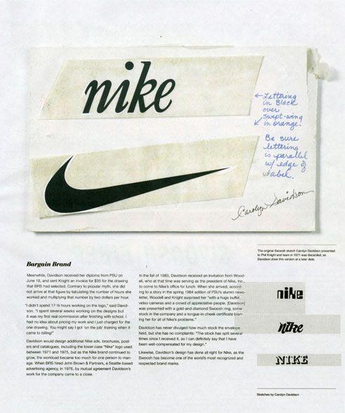 Nike Swoosh designed by Carolyn Davidson.