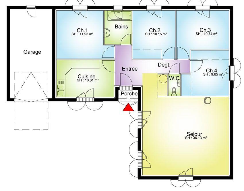 plan maison plain pied 4 chambres MAISON EN L Pinterest - maisons plain pied plans gratuits