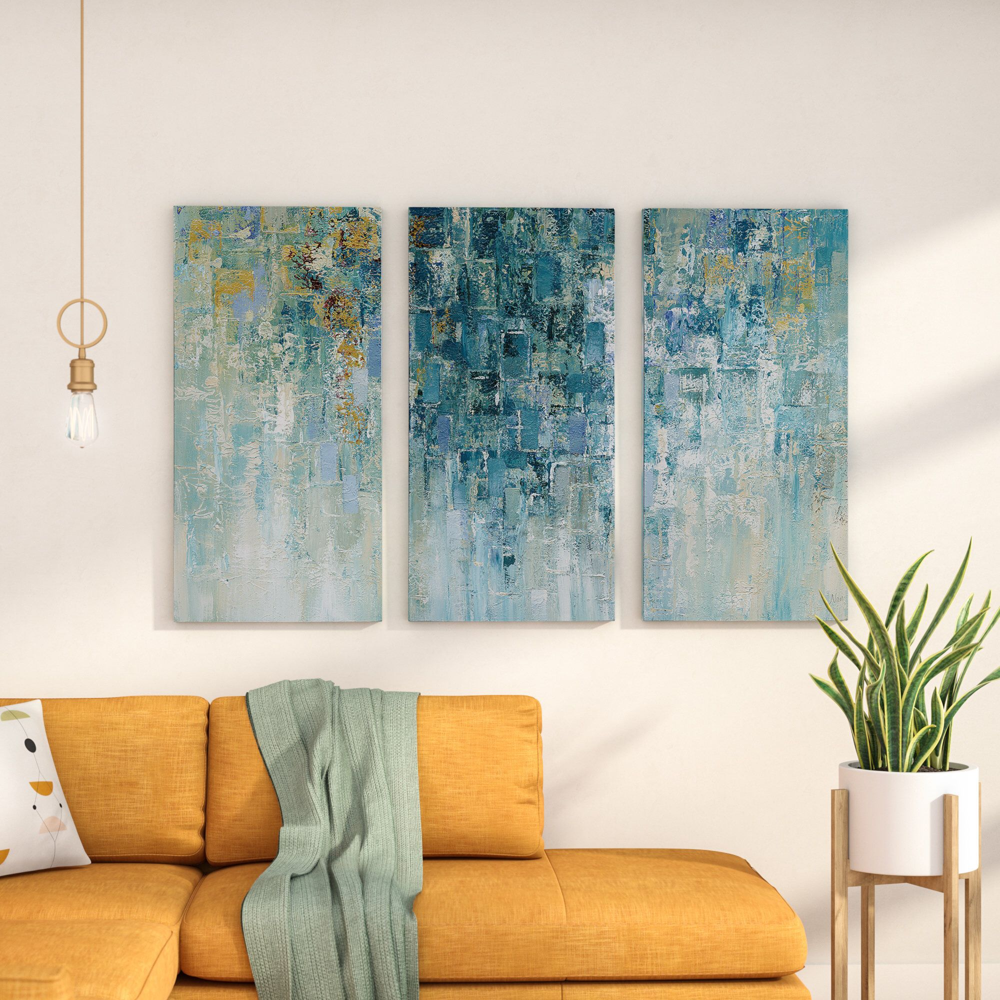 I Love The Rain 3 Piece Wrapped Canvas Multi Piece Image Print Set Oversized Canvas Art Painting Prints Canvas Painting