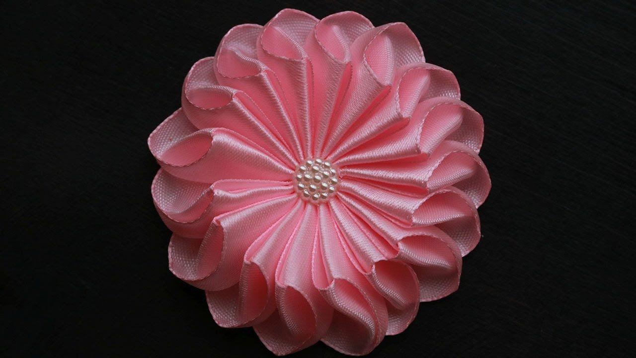 Цветы канзаши из атласных лент своими руками #2