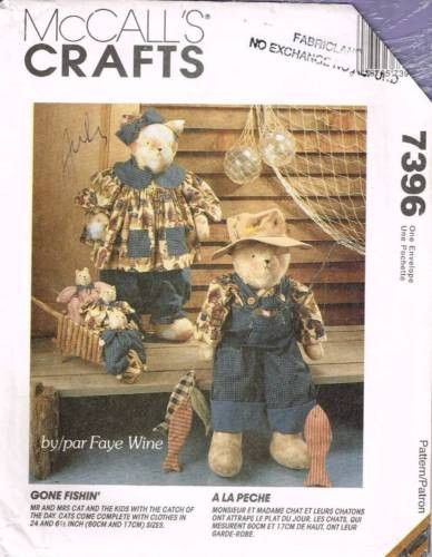 "7396 / 652 Sewing Pattern McCall's Fishing Cat 24"" Tall w Clothes"