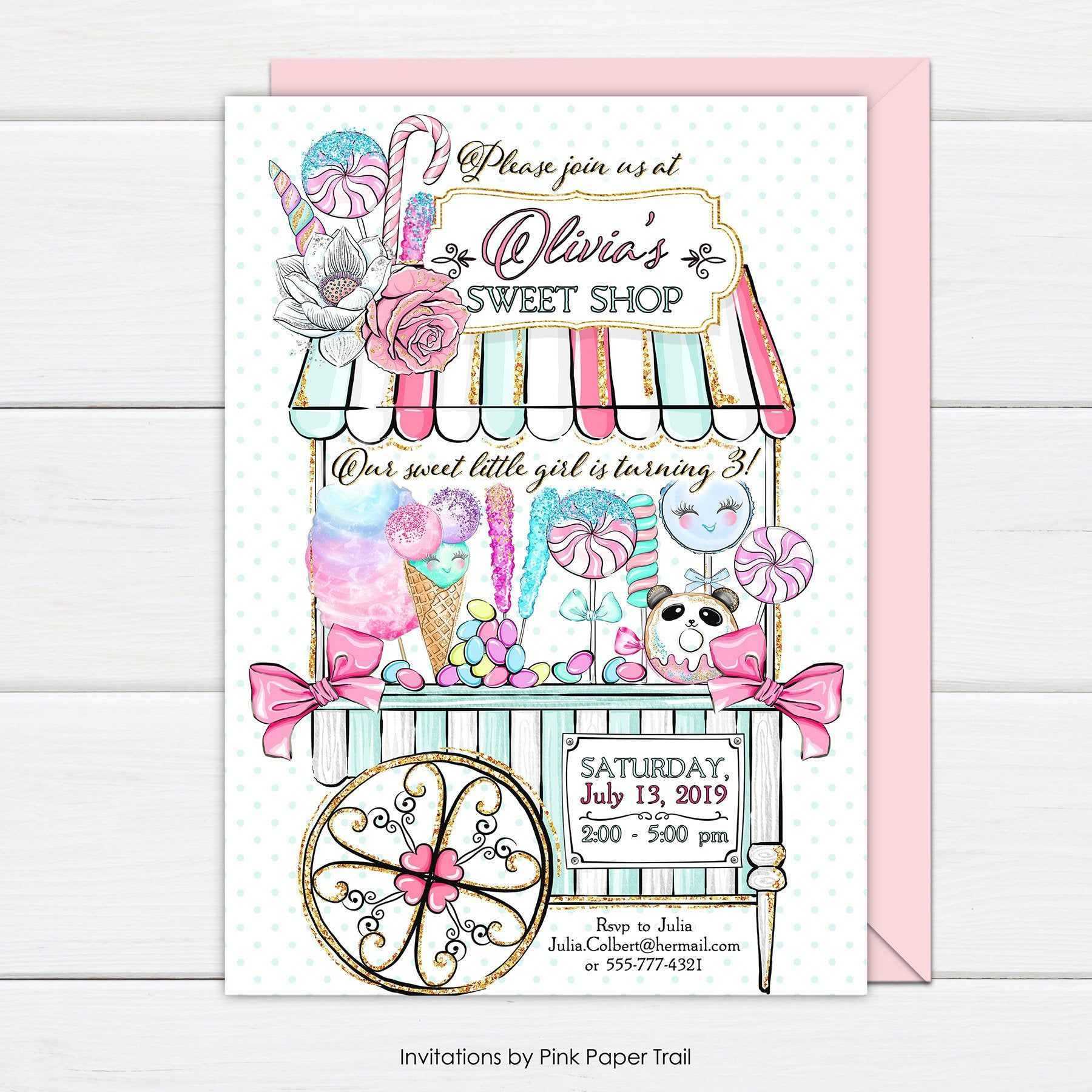Sweet Shop Birthday Invitation Sweet Shop Candy Shop