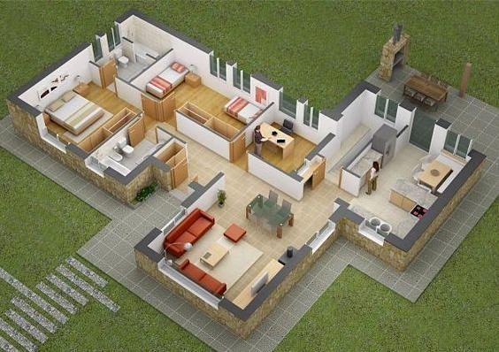 Denah Rumah Mewah 3 Kamar Tidur 3d 3dimensi & Denah Rumah Mewah 3 Kamar Tidur 3d 3dimensi | Desain rumah ...