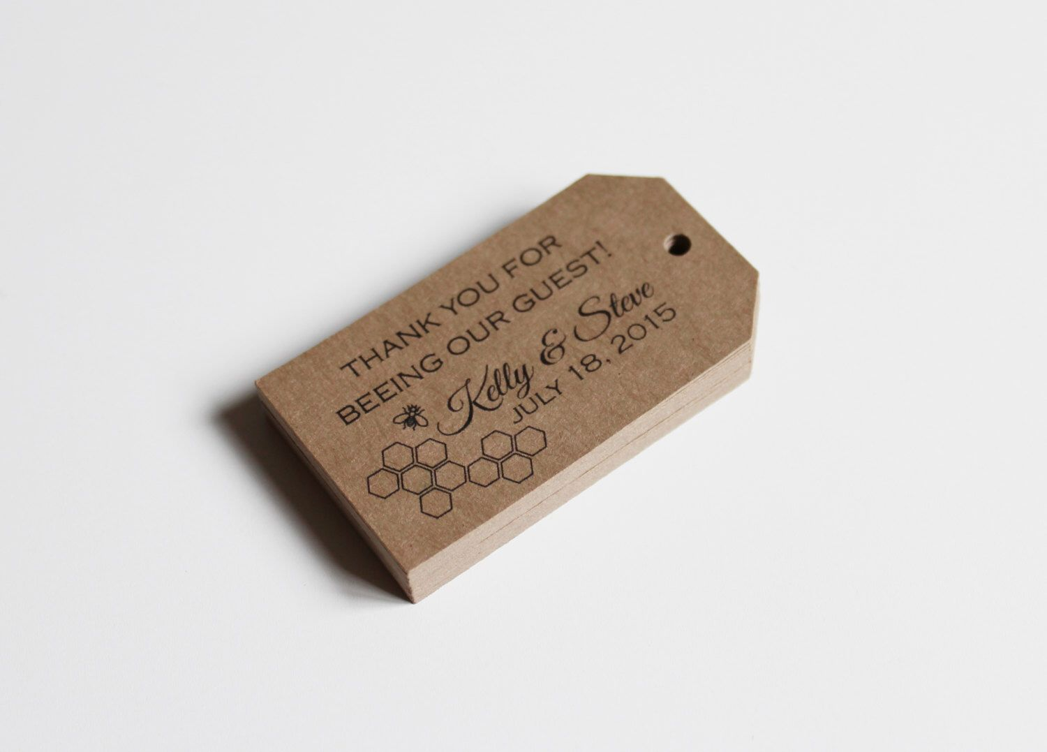 Favor Tags Wedding or Baby Shower for Gifts in a Honey Bee Honeycomb ...