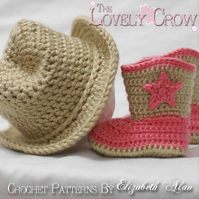 Cowboy Hat and Boots Set pattern by Elizabeth Alan | Conjuntos ...