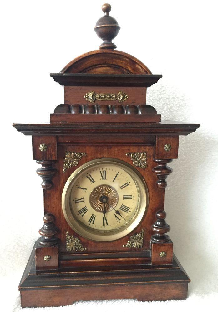 Musical Junghans Mantel Shelf Clock Antique Black Forrest Case