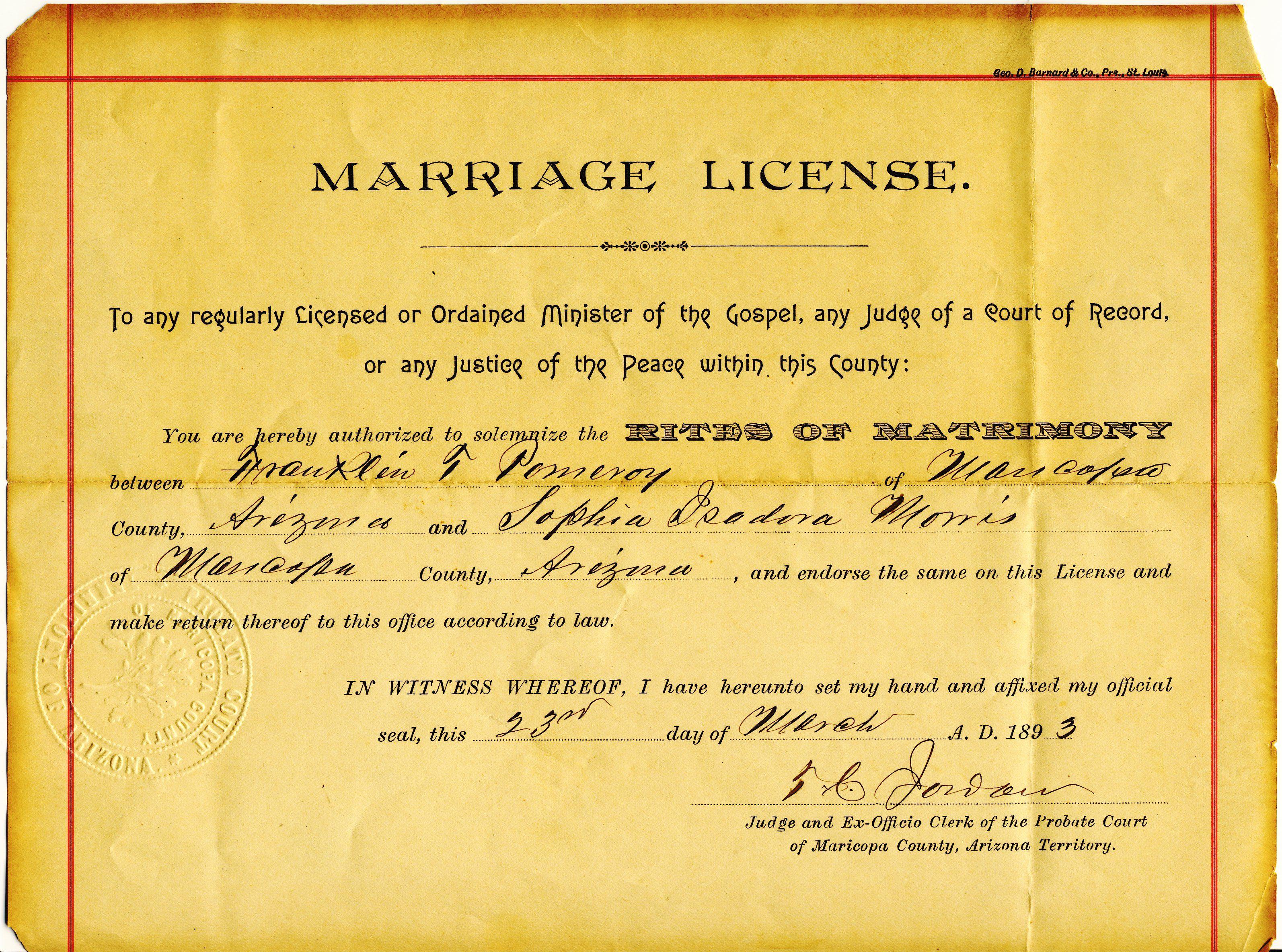 Marriage License 1893 Arizona Territory Marriage