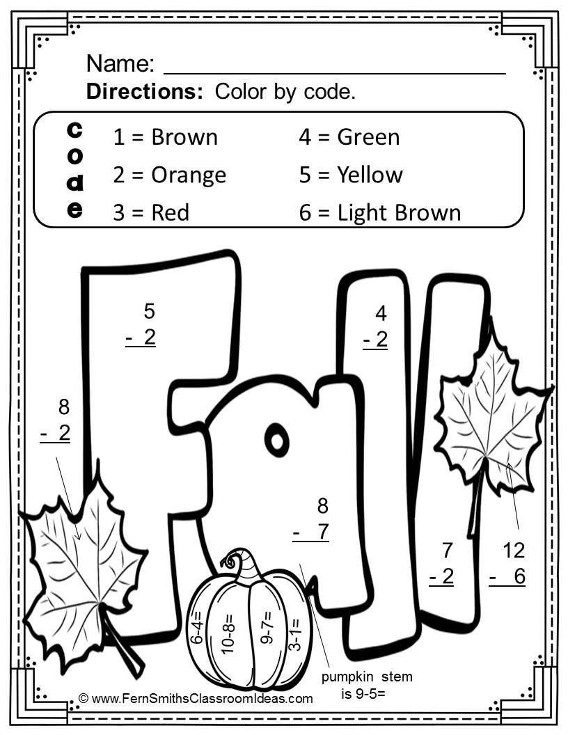 Fall Color By Number Subtraction Subtraction worksheets