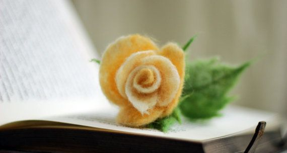 Spring Decoration   Yellow Needle Felt Rose   by FeltArtByMariana, $30.00
