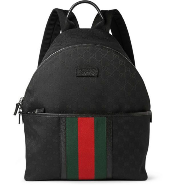 4bf0876ccaf9 Gucci - Leather-Trimmed Canvas Backpack