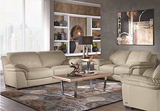Picture Of Cindy Crawford Home Grand Palazzo Beige Leather 3 Pc Living Room From Leathe Living Room Leather Leather Living Room Set Living Room Sets Furniture