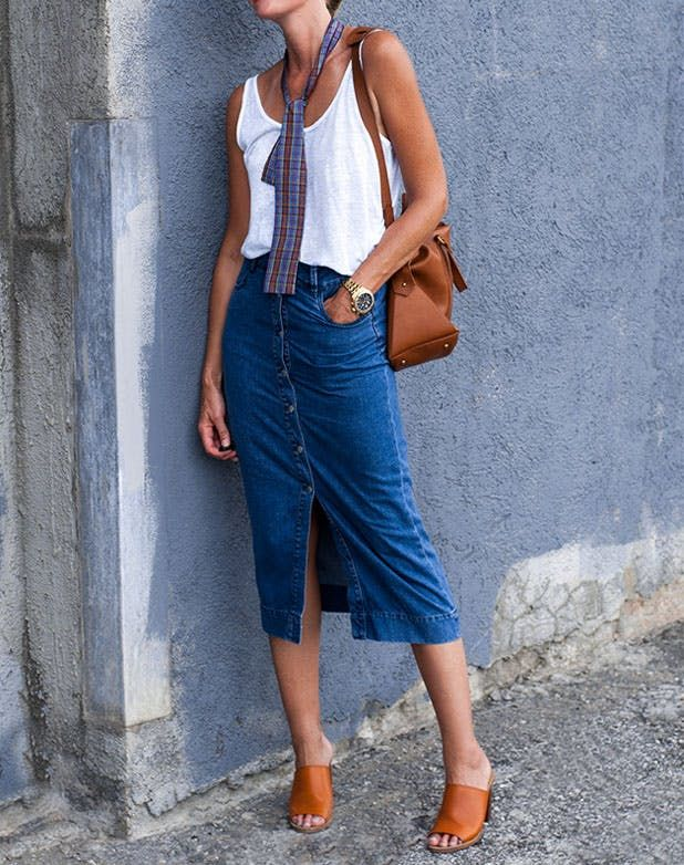 8 Ways to Wear a Denim Skirt Like a Grown-up