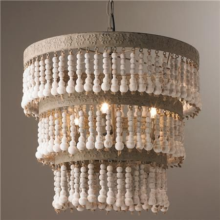 Three Tiered Wood Beaded Chandelier
