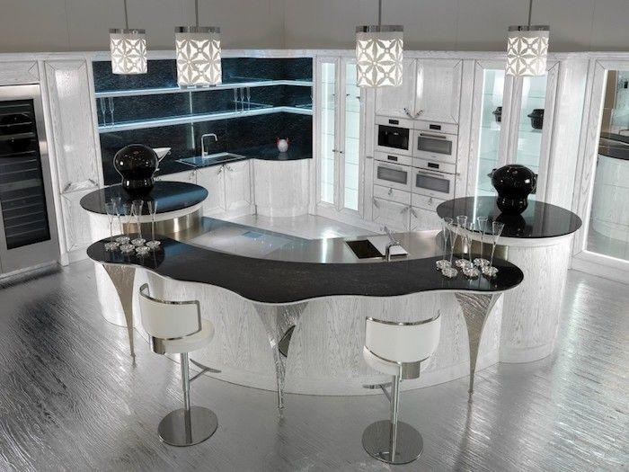 cuisine avec ilot central tagres en verre bar de cuisine en blanc et noir