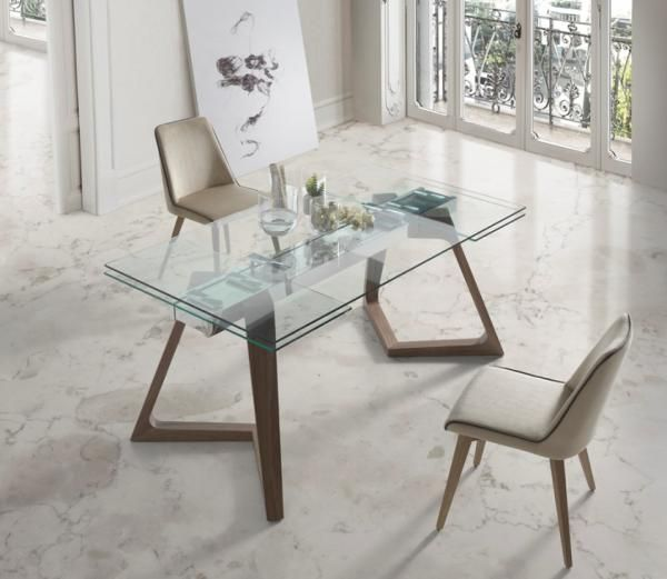 Nil Modern Extending Clear Glass Top Dining Table With Solid Wood