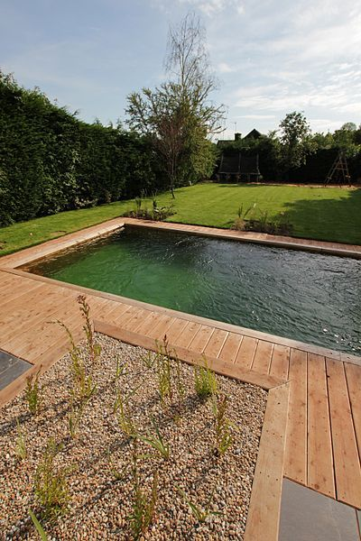 Delightful A Natural Kit Pool In Bristol, UK Using Wooden Panelling And A Natural  Green Liner