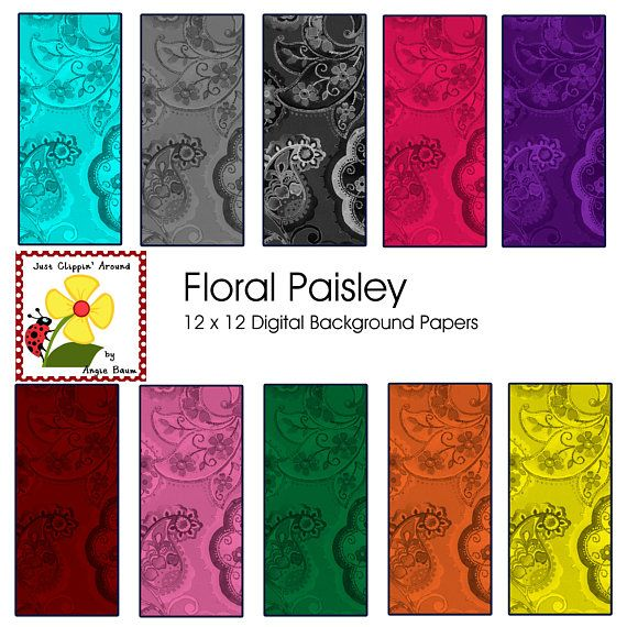 Floral Paisley Digital Background Papers Instant Download Etsy Digital Background Paper Paper Background Digital Background