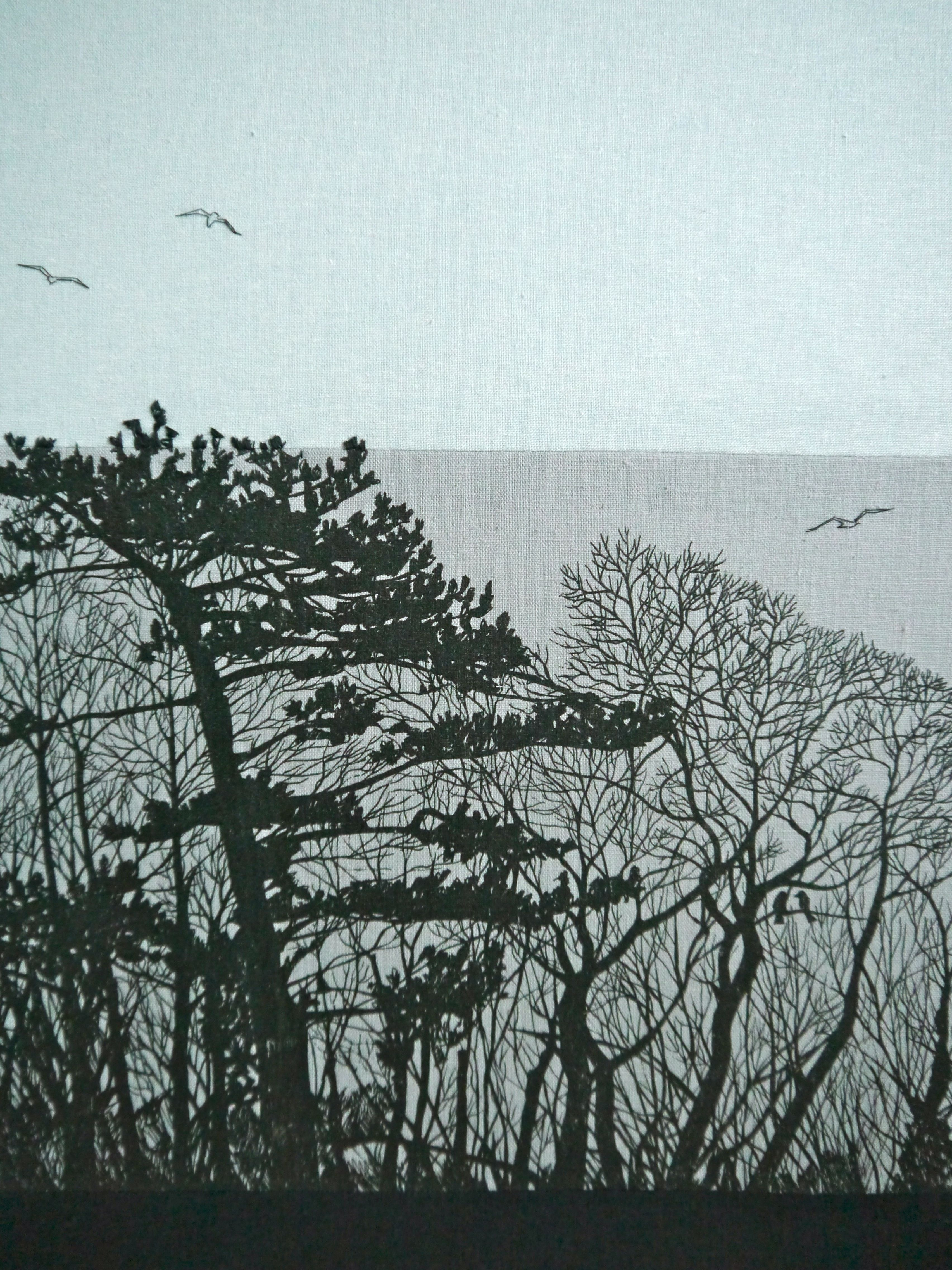 Detail of a commission looking out over the sea from a