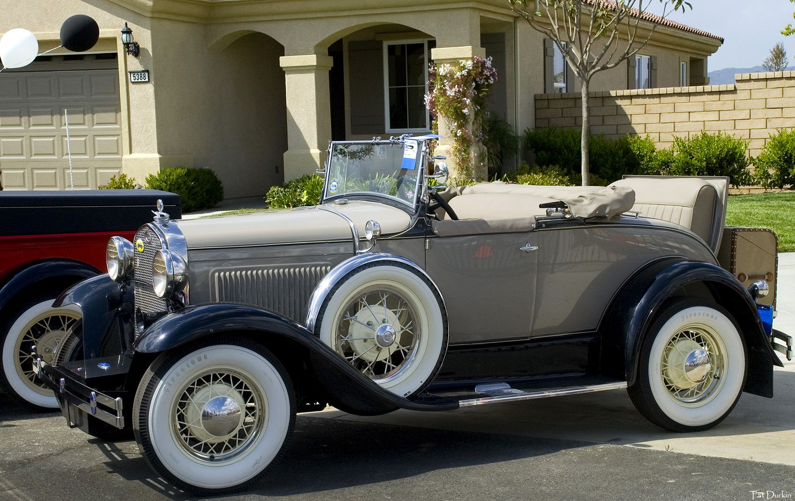 1931 ford model a roadster beige with top down fvl aaca