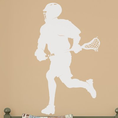 Wallums Wall Decor Male Lacrosse Player Silhouette Wall Decal Color: White