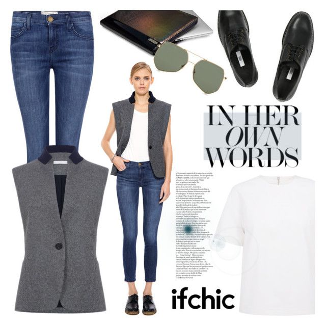 """""""ATEA OCEANIE - Vest wool jersey"""" by ifchic ❤ liked on Polyvore featuring Current/Elliott, Atea Oceanie, Surreal But Nice, Miista, Mohzy and Grey Ant"""