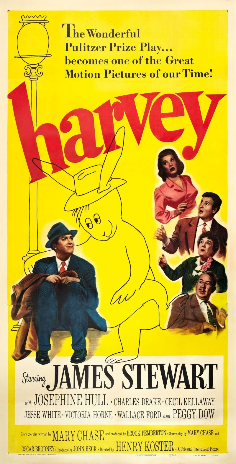 Harvey movie poster 11x17 in jimmy stewart rabbit 27x43 cm elwood p ...