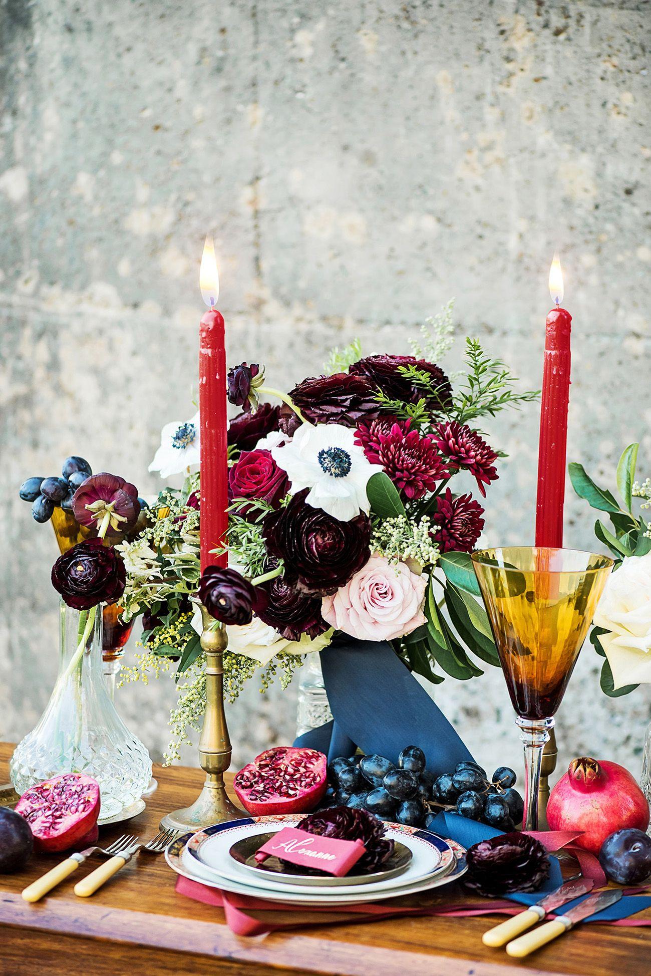 Romantic Burgundy, Navy and Gold Wedding Decor + Details