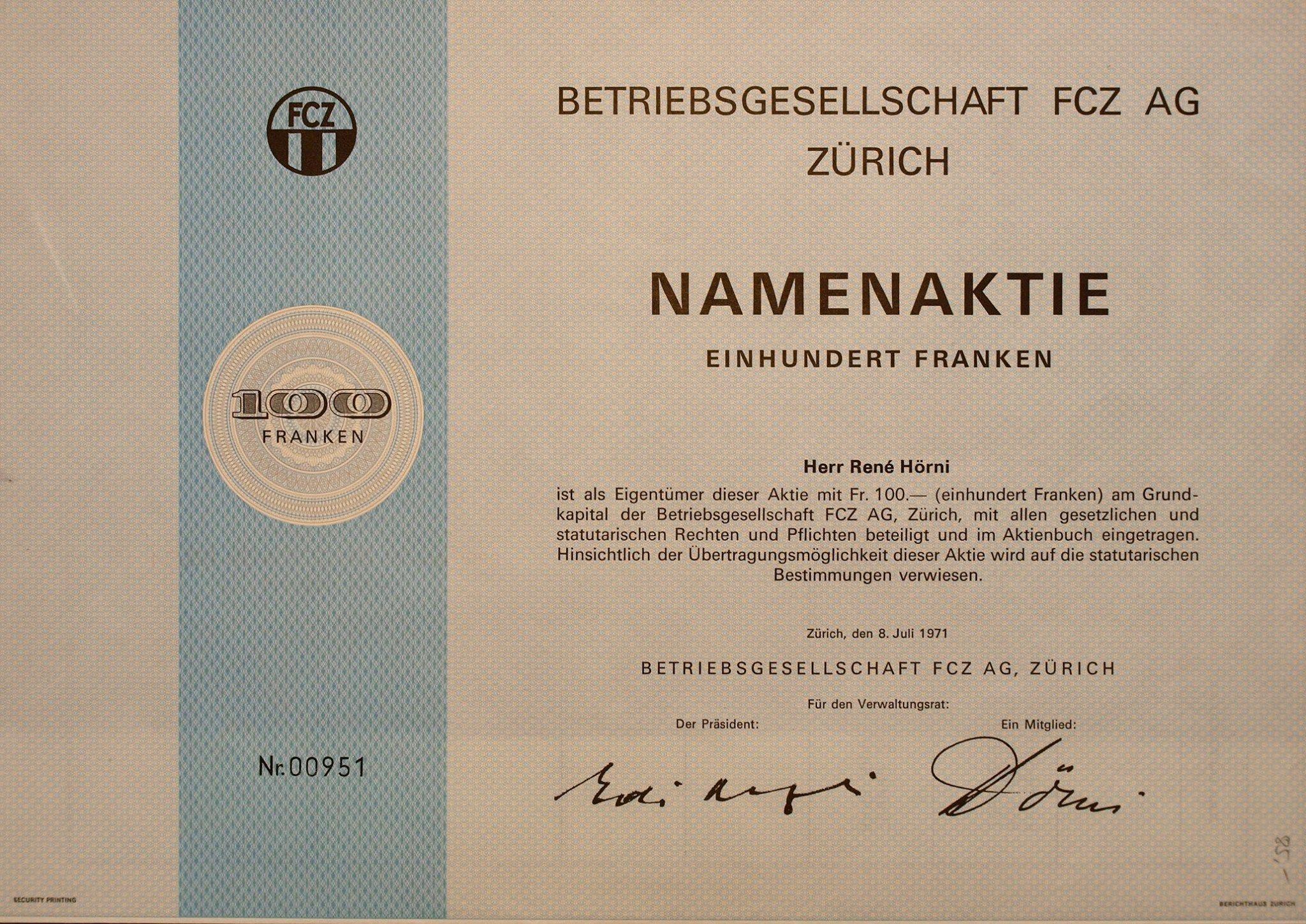 Betriebsgesellschaft Fcz Ag Zurich Namenaktie 100 Chf 1971 Quelle Scripophila Helvetica Facebook Bond Person Personalized Items