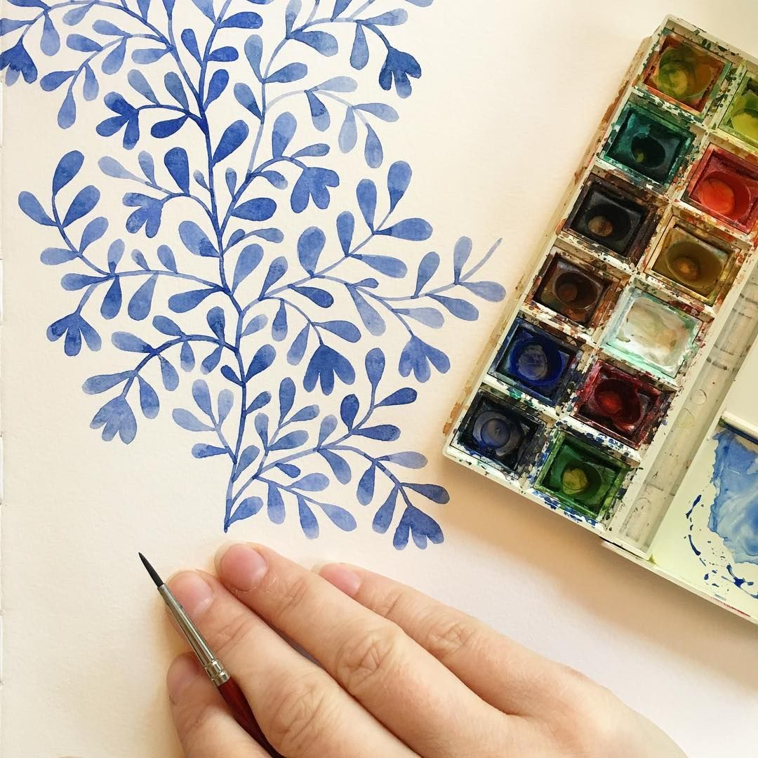 Happy Magic Monday Here S Some Blue Watercolor Doodles To Start