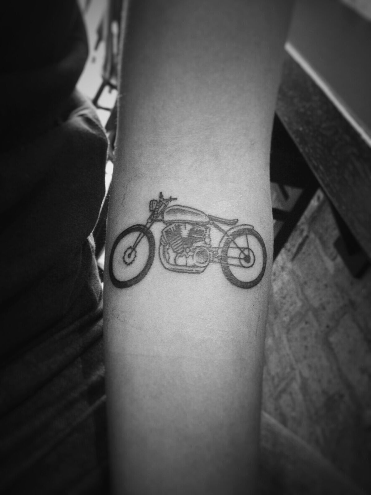 Small Simple Motorcycle Tattoo On Forearm Motorcycle Tattoos Tattoos Tattoos For Guys