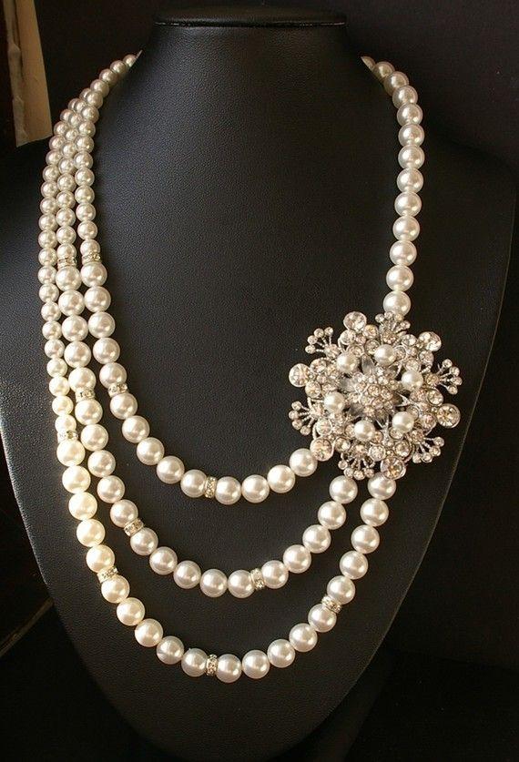 Vintage Baroque Pearls /& Pink Crystals Necklace Long Baroque Pearl Statement Necklace, Elegant Vintage Wedding and Bridal Pearl Necklace