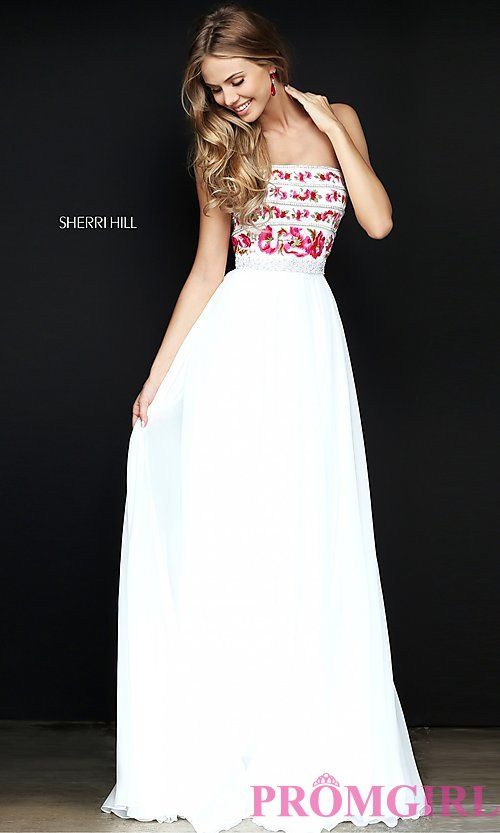 316d32d6d25 Image of embroidered-bodice long prom dress by Sherri Hill. Style  SH-50984  Front Image