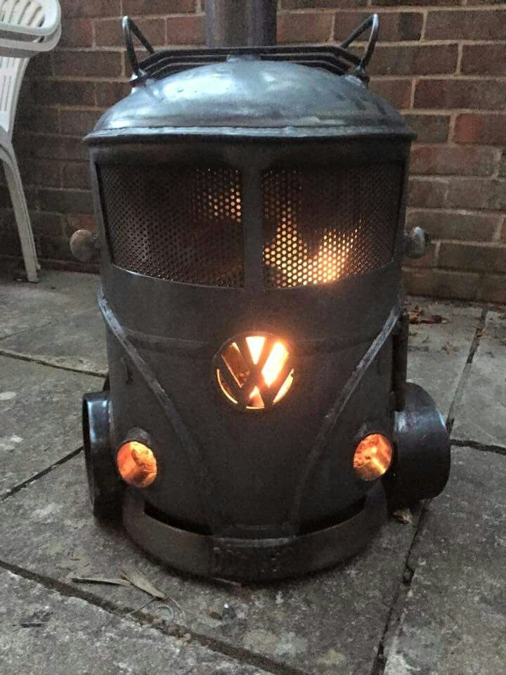 Volkswagen bus fire pit  wood stove  cars  trucks